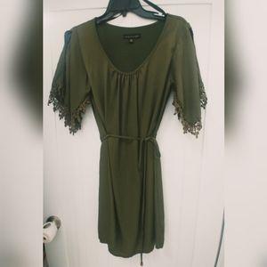EUC green, cinch waist tied, flowy dress